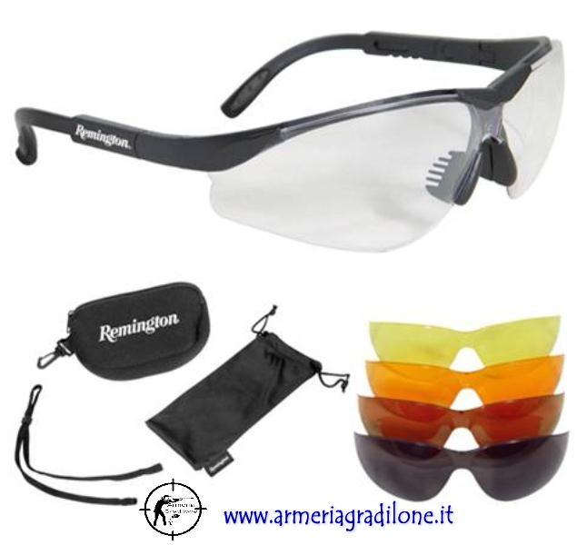 Kit occhiali da tiro remington 5 lenti intercambiabili for Occhiali da tiro a volo zeiss